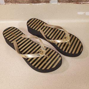 Michael Kors Bedford glitter striped flip flops